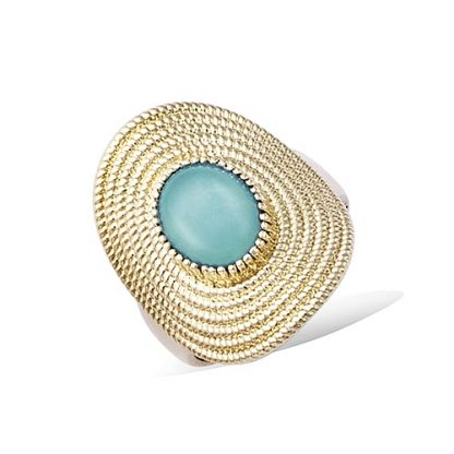 Bague or ovale amazonite