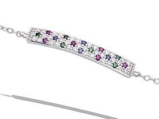 bracelet pierre multicolor argent