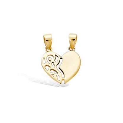 pendentif plaqué or coeur secable