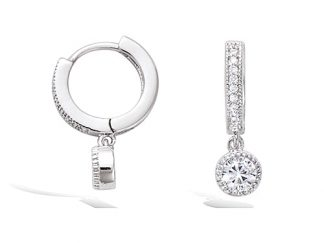 boucle oreille argent pampille rond