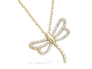 pendentif libellule plaqué or
