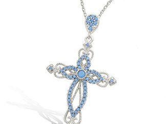 pendentif argent croix oxydes turquoise