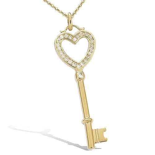 pendentif plaqué or clef coeur