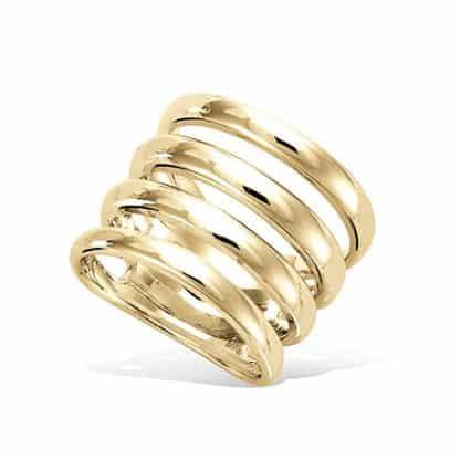 Bague or large quatre rangées