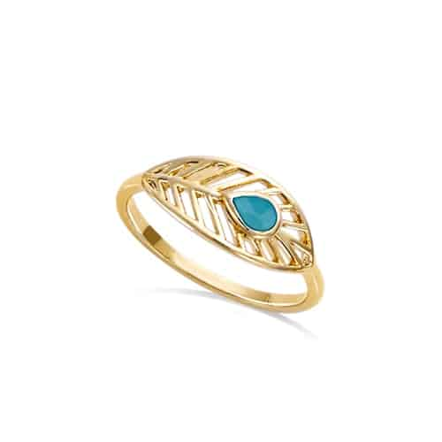 Bague or plume turquoise