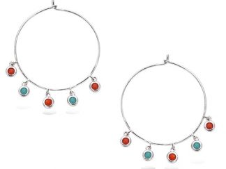 boucle oreille pampille corail turquoise argent