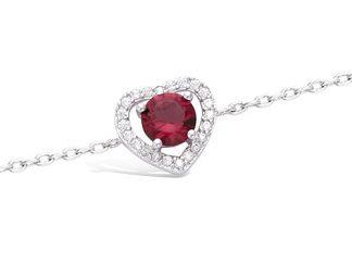 bracelet argent coeur rubis