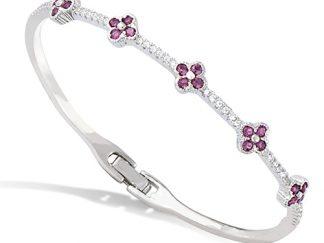 bracelet jonc fleur argent