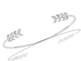 bracelet jonc argent feuillage