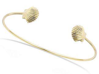bracelet jonc coquillage saint jacques pl or