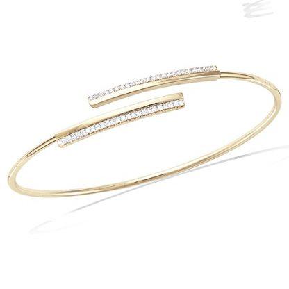 Bracelet jonc or oxydes blancs