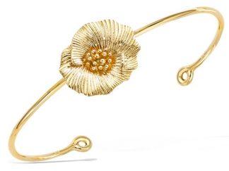 bracelet jonc plaqué or fleur texture