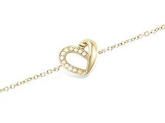 bracelet coeur pl or