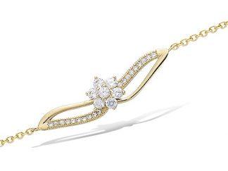 bracelet plaqué or fleur