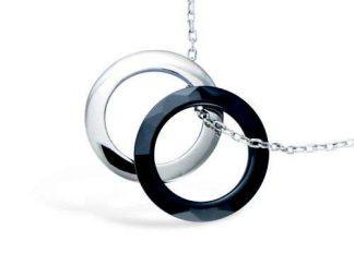 collier argent ceramique deux anneaux