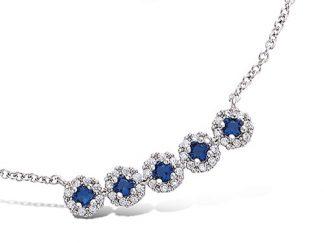 collier argent 5 oxydes bleu saphir