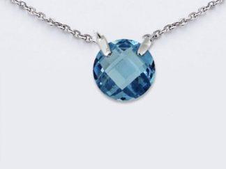 coller argent pierre ronde aquamarine