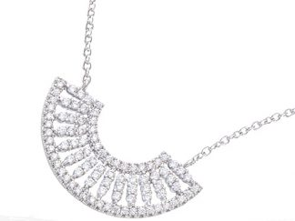 collier argent eventail oxydes blancs