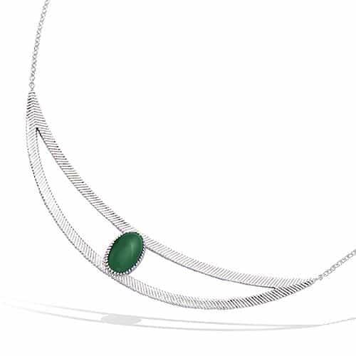 collier argent croissant verre verte