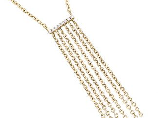 collier plaqué or barre chainettes