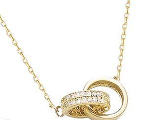 collier plaqué or double anneau