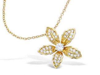 collier plaqué or fleur pavage