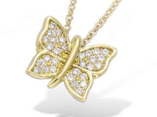 Collier or papillon oxydes