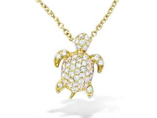 collier tortue pl or
