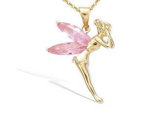 pendentif plaqué or elfe rose