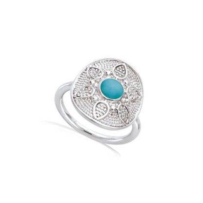 bague argent ronde pierre synth turquoise