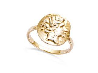 bague plaqué or déesse grecque