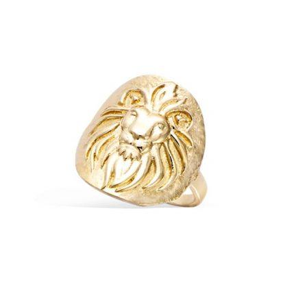 bague plaqué or lion finition antique