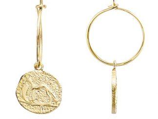 Boucle oreille plaqué or pendante Anubis