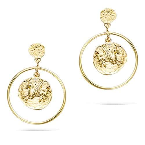 Boucle oreille or cheval aile