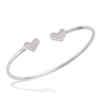 Bracelet jonc argent double coeur