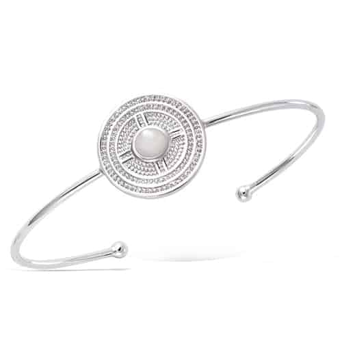 bracelet jonc argent ronde nacre