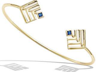 bracelet plaqué or geometrique saphir