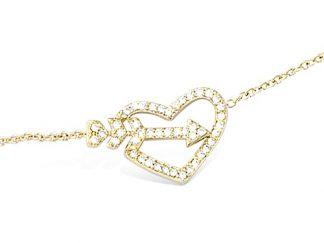 Bracelet plaqué or coeur flèche