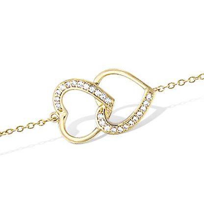 bracdouble coeur superposéelet plaqué or