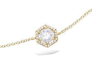 Bracelet or hexagonale oxyde blanc