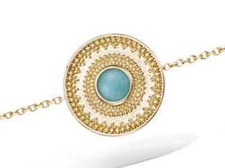 bracelet plaqué or mini boule amazonite