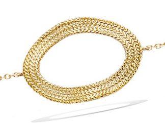 Bracelet or ovale évidée texturé