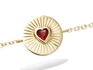 Bracelet or coeur rouge