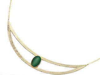 collier plaqué or croissante verte