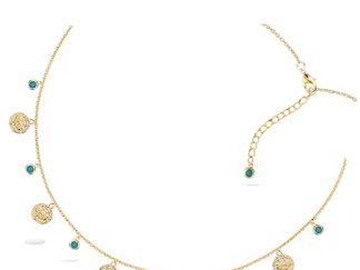 Collier plaqué or pampilles pierres turquoises