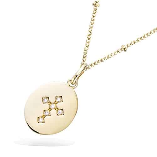 pendentif plaqué or medaille croix