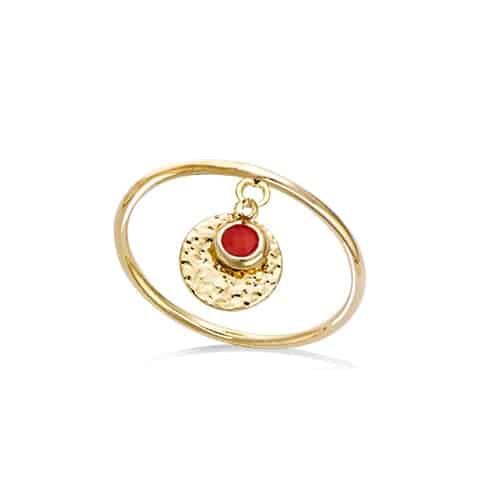 Bague or pampille pierre corail