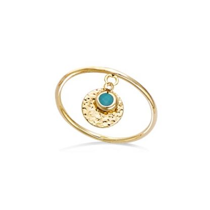 Bague or pampille pierre turquoise