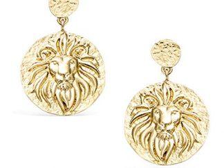 Boucle oreille or pendante lion