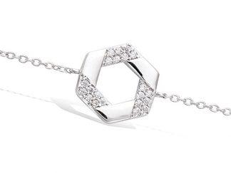 Bracelet argent géométrique oxydes